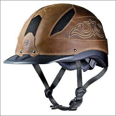 Troxel Low Profile Chenyenne Brown Western Riding Helmet W/ Leather Finish