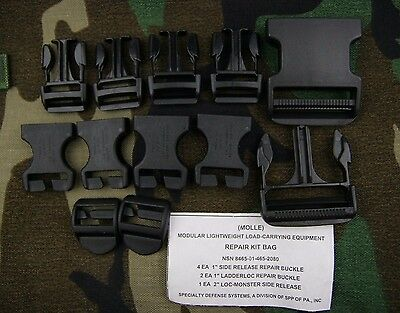 Genuine Us Army Military Molle Buckle Backpack Repair Kit Bag Black