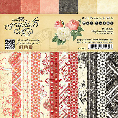 Graphic45 MON AMOUR 6x6 PAPER PAD scrapbooking (36) Patterns & Solids