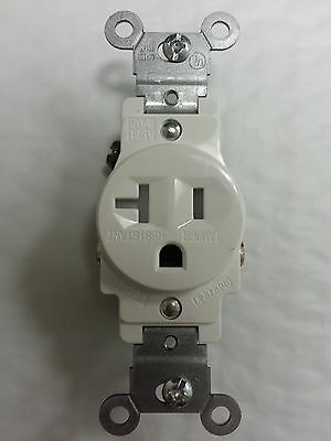 (1 pc) Single Receptacle 20 Amp 20A Tamper Resistant White TR AC Outlet