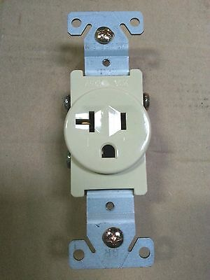 (1 pc) Single Receptacle 20 Amp 20A 125V AC Outlet 2 Pole 3 Wire Ivory