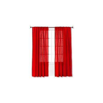 "Threshold Curtain Panels Linen-Look Solid - Red (54X84"")"