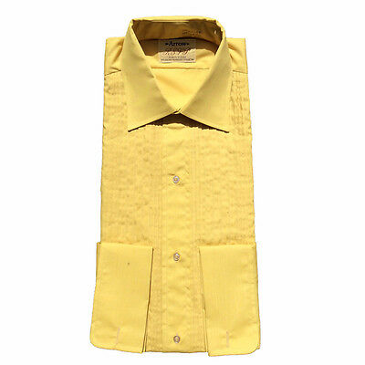Vintage Men's Pleated Tuxedo Shirt Arrow RSVP Mustard Gold NEW Size 15 - 15 1/12