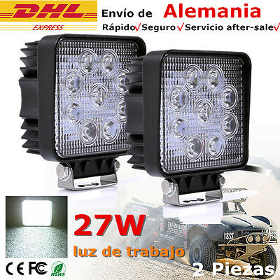 2 X 27W LED Luz de trabajo Faros antiniebla Plaza para Proyector Work Light IP67