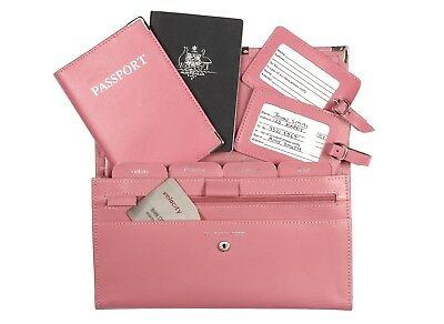 Leather Travel Wallet Organiser Document Set Baby Pink - Brand New