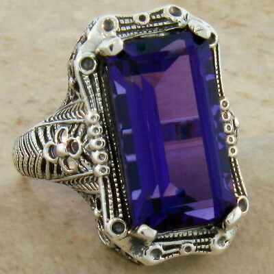 6.5 Ct. Lab Amethyst Antique Design 925 Sterling Silver Ring Size 6,      #347
