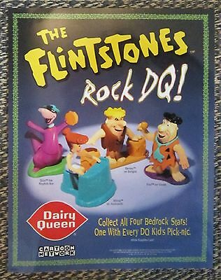 Vintage 1997 FLINTSTONES Dairy Queen PROMOTIONAL Advertising POSTER/SIGN Toys DQ