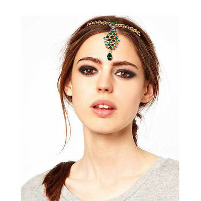 Green Crystal Flower Drop Cluster Forehead Jewelry Hairpin Frontlet Barrette