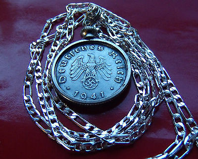 "1940-1943 German WW2 Battlefield Recovery Coin Pendant on 30"" 925 Silver Chain"