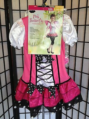 Pink Butterfly Mariposa Girl Large 10-12 Halloween Costume NWT