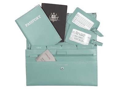 Leather Travel Wallet Organiser Document Set Aqua - Brand New