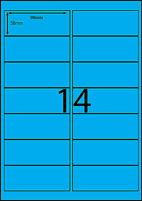 A4 Labels Avery Compatible  100 sheets-FLUORO BLUE-14 labels page **DL RANGE