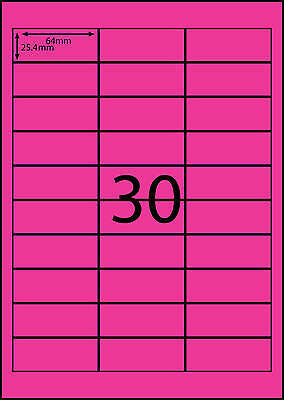A4 Labels Avery Compatible 100 sheets-FLUORO PINK -30 labels page **DL RANGE