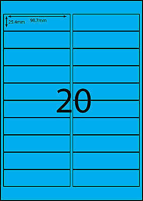 A4 Labels Avery Compatible 100 sheets-FLUORO BLUE-20 labels page **DL RANGE