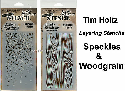 "Tim Holtz ""Speckles & Woodgrain"" Layering Stencils - 2 In Set - NIP"