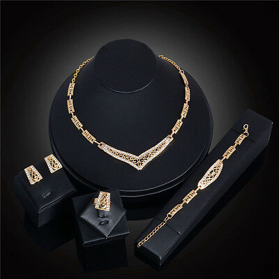 4pcs Set Gold Plated Crystal Necklace Earrings Bracelet Ring Jewelry Set