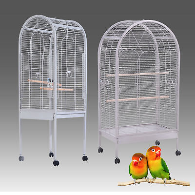 Large Metal Bird Cage Pet Aviary Budgie Parrot Table Mobile Stand Station House