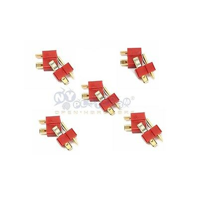 5 Pair T Plug Male & Female Connectors Deans Style For RC LiPo Battery