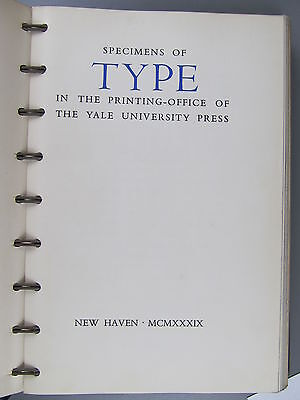 Specimens of Type in the Printing-Office of the Yale University Press, 1939