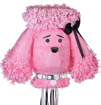 PINK POODLE Animal Dog PULL STRING Pinata Fun Party Game Decoration P33489