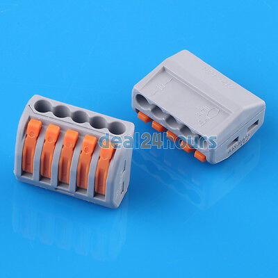 32A 2,3,5 Pin Wire Spring Connector Cable Terminal Block Push Clamp Solderles