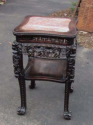 Large Antique Chinese Hardwood Marble Top Table Stand  Unusual Greek Key Design