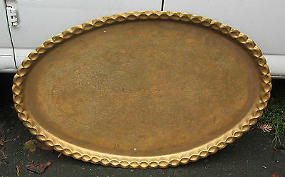 Large Asian Oriental Indian Brass Tray Old or Antique