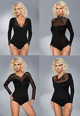 Gorgeous Ladies Stretch Lace Long Sleeve Bodysuit Body S - XXL Underwear Vestiva
