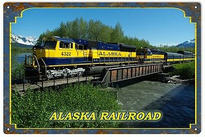 ALASKA RAILROAD METAL SIGN //Anchorage // Skagway // Fairbanks // wall art