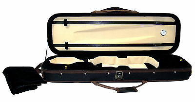 Ferris VC632 Violin Case Black With Brown Trim Holds 2 Bows 3 Pockets Strap