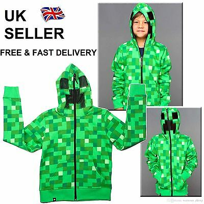 UK STOCK Kids Minecraft Creeper Boys Youth Hoodie Zip-Up Coat Sweater Jacket