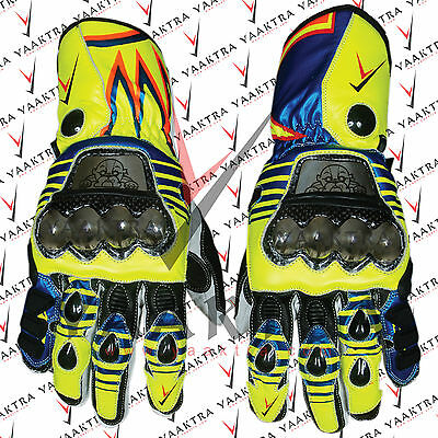 Valentino Rossi MotoGp 2016 Motorbike Racing Leather Gloves All Sizes Available