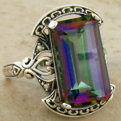 7 CT. HYDRO MYSTIC QUARTZ ANTIQUE DESIGN .925 STERLING SILVER RING Sz 4.75,#293