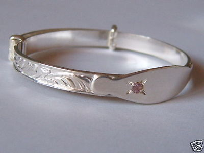 Solid Sterling Silver And Pink Cz Baby Childs Id Name Plate Expanding Bangle