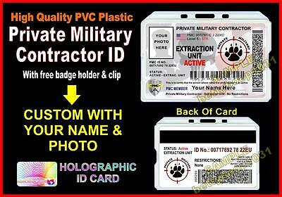 Private Military Contractor ID Badge / Card **Compare to Blackwater ID** Custom