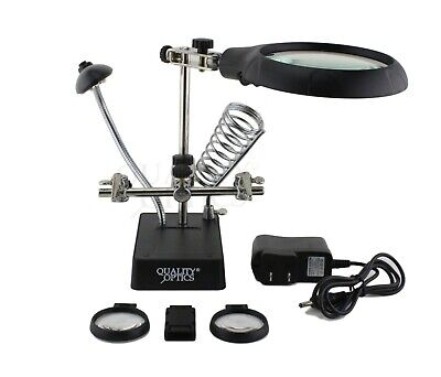 Jewelers LED Illuminated Work Desk Top Magnifier Lamp Light Flex Neck Coin Paper