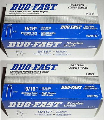 "10000 staples Duo-Fast 5418D Staples 9 /16"" x 3/16"" crown (2 Boxes of 5000) 3/16"