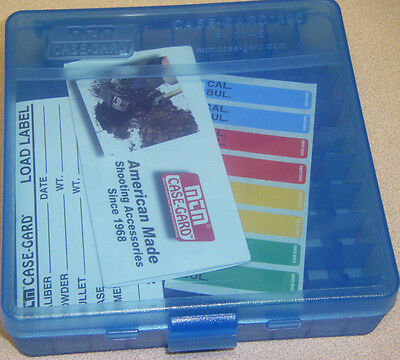 MTM Case Gard™ New MTM Plastic Ammo Box 100 Round 44 MAG P100-44-24 CLEAR BLUE