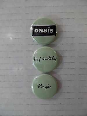 """Oasis - Definitely Maybe * 3 1"""" Promo Buttons * Rare Limited Edition"""