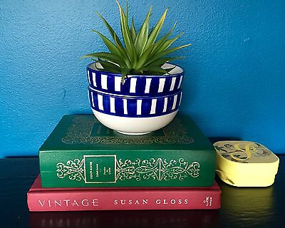 Vintage Mid Century Hand Painted Blue Striped Soup Salad Bowls / Set of 2