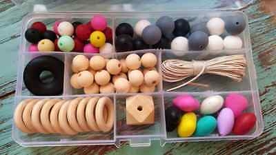 DIY Jewellery making kit/Silicone beads & Wooden beads-clasps-cord