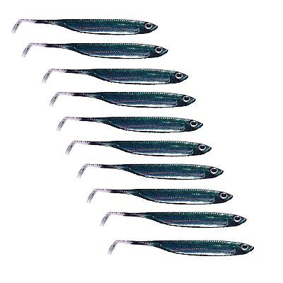 10 100mm Flash Minnow Soft Plastic Fishing Lures Holographic FLATHEAD Lures 6