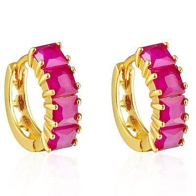 Girls Fashion jewelry Yellow Gold Filled Red Ruby Circle Hoop Earrings womens