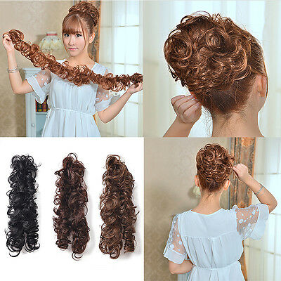 Girl Women Clip In Ponytail Wavy Horsetail Long Hairpieces Curly Extension Hair
