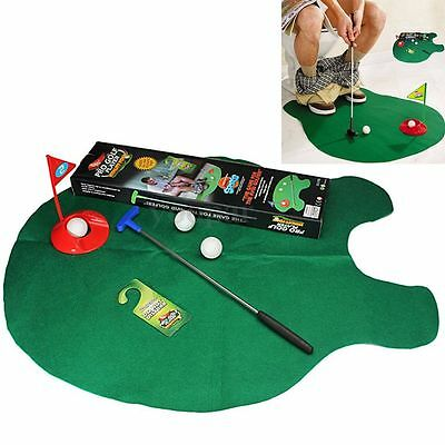 Funny Toilet Bathroom Mini Golf Game Mat Potty Putter Putting Novelty Game Gift