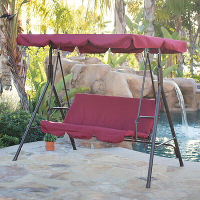 Outdoor 3Person Swing Canopy Hammock Seat Patio Deck Furniture Steel Burgundy