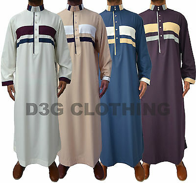 Mens Designer Jubba Kaftan Dishdash Thobe Collared Arab Stylish Pattern Jabbah