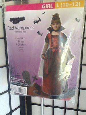 Red Vampiress Girl Size Large 10-12 Halloween Costume NEW