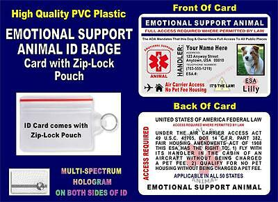EMOTIONAL SUPPORT ANIMAL ID Badge / Card (HOLOGRAPHIC) Air Carrier Access - ESA