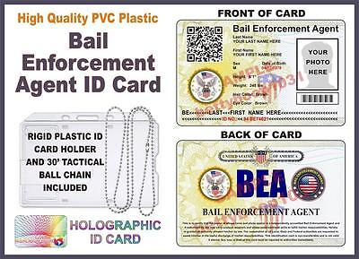 BAIL ENFORCEMENT AGENT ID CARD **W/ Your Photo & Info** W/ Tactical Ball Chain